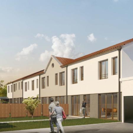 Projet de transformation du bâtiment cour en 5 maisons de ville modernes